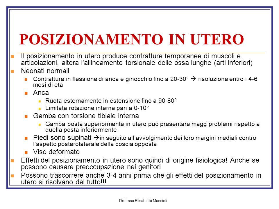 Dott.ssa Elisabetta Muccioli POSIZIONAMENTO IN UTERO Il posizionamento in utero produce contratture temporanee di muscoli e articolazioni, altera lall