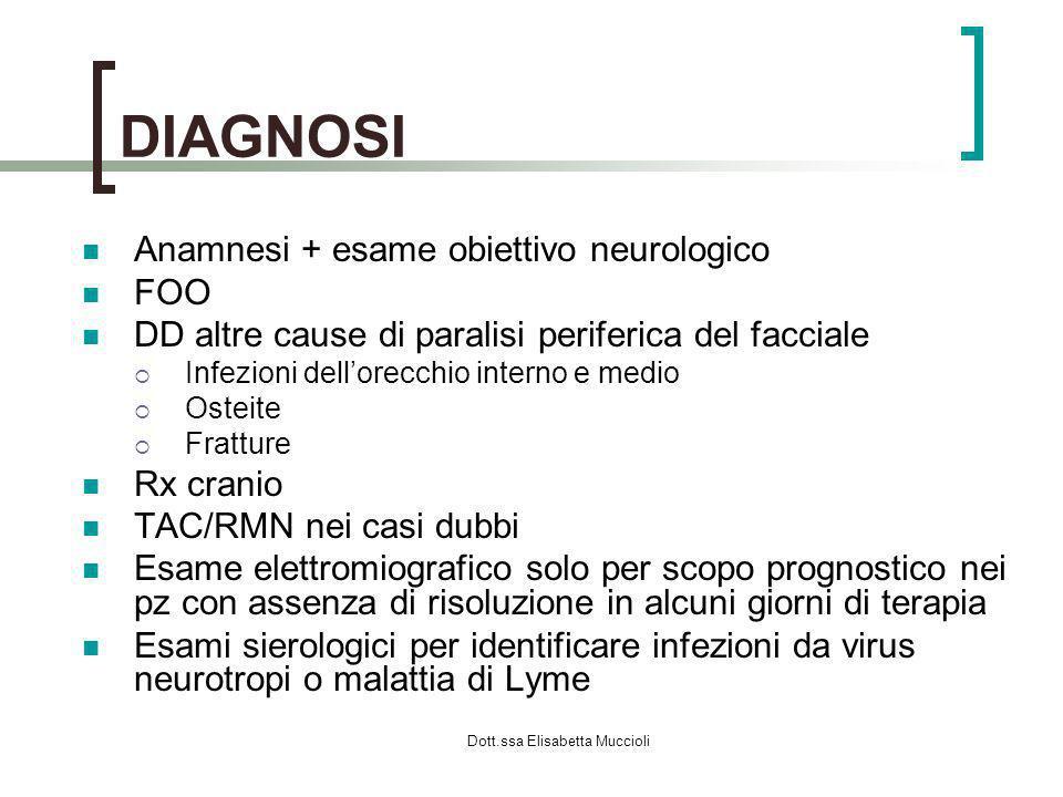 Dott.ssa Elisabetta Muccioli DIAGNOSI Anamnesi + esame obiettivo neurologico FOO DD altre cause di paralisi periferica del facciale Infezioni dellorec