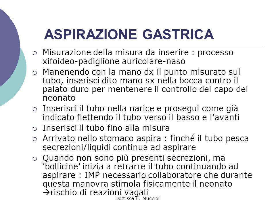 Dott.ssa E. Muccioli ASPIRAZIONE GASTRICA Misurazione della misura da inserire : processo xifoideo-padiglione auricolare-naso Manenendo con la mano dx