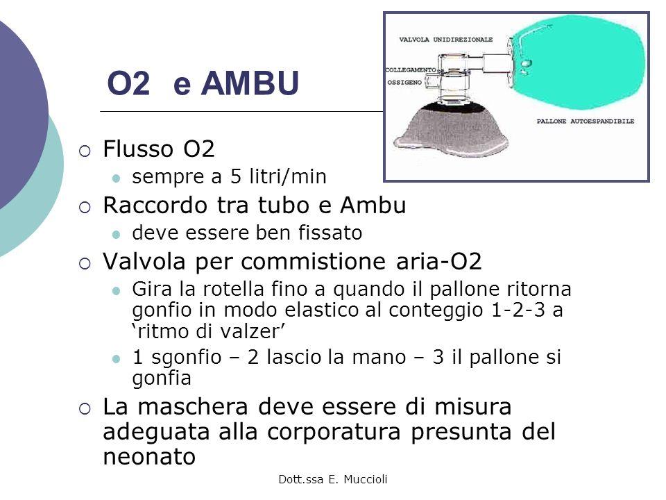 Dott.ssa E. Muccioli O2 e AMBU Flusso O2 sempre a 5 litri/min Raccordo tra tubo e Ambu deve essere ben fissato Valvola per commistione aria-O2 Gira la