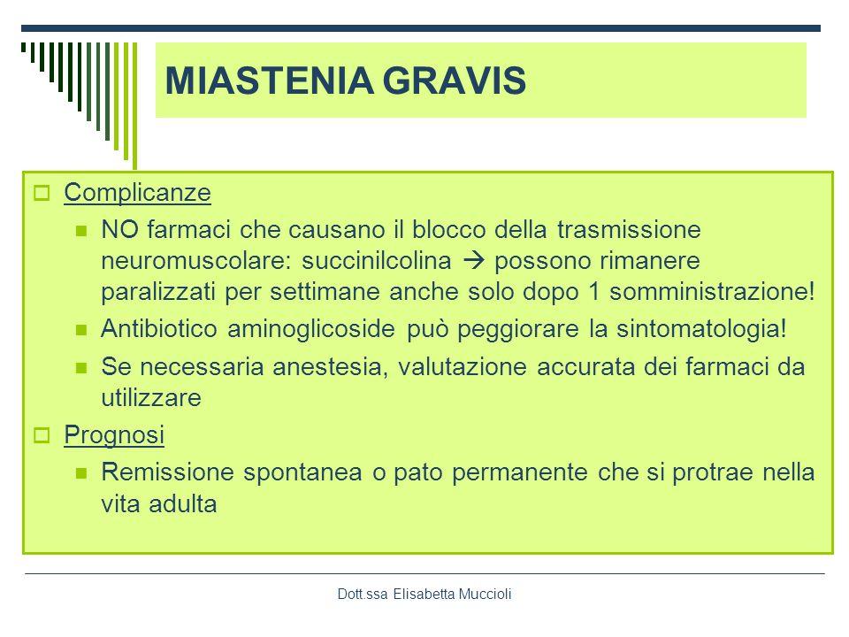 Dott.ssa Elisabetta Muccioli Complicanze NO farmaci che causano il blocco della trasmissione neuromuscolare: succinilcolina possono rimanere paralizza