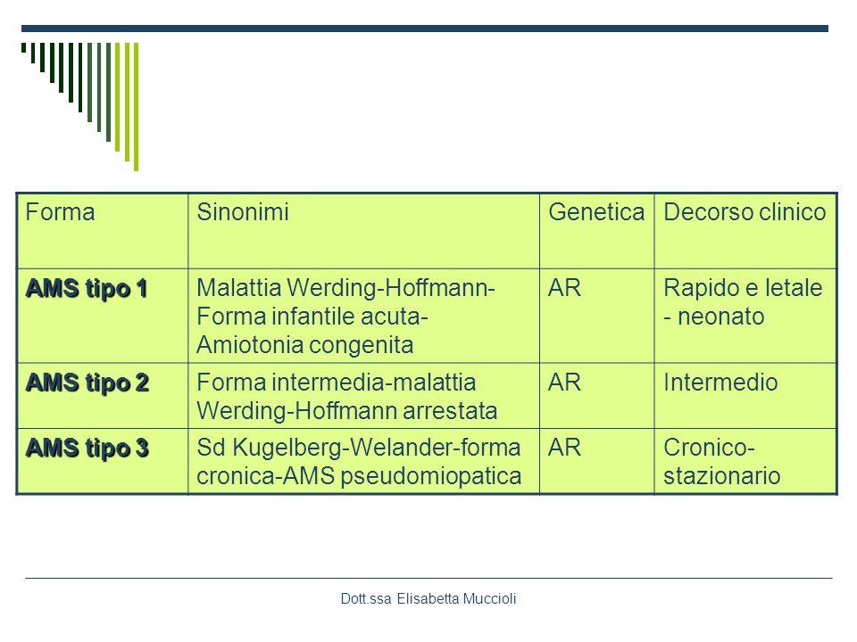 Dott.ssa Elisabetta Muccioli FormaSinonimiGeneticaDecorso clinico AMS tipo 1 Malattia Werding-Hoffmann- Forma infantile acuta- Amiotonia congenita ARR