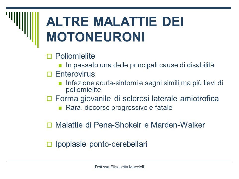 Dott.ssa Elisabetta Muccioli ALTRE MALATTIE DEI MOTONEURONI Poliomielite In passato una delle principali cause di disabilità Enterovirus Infezione acu