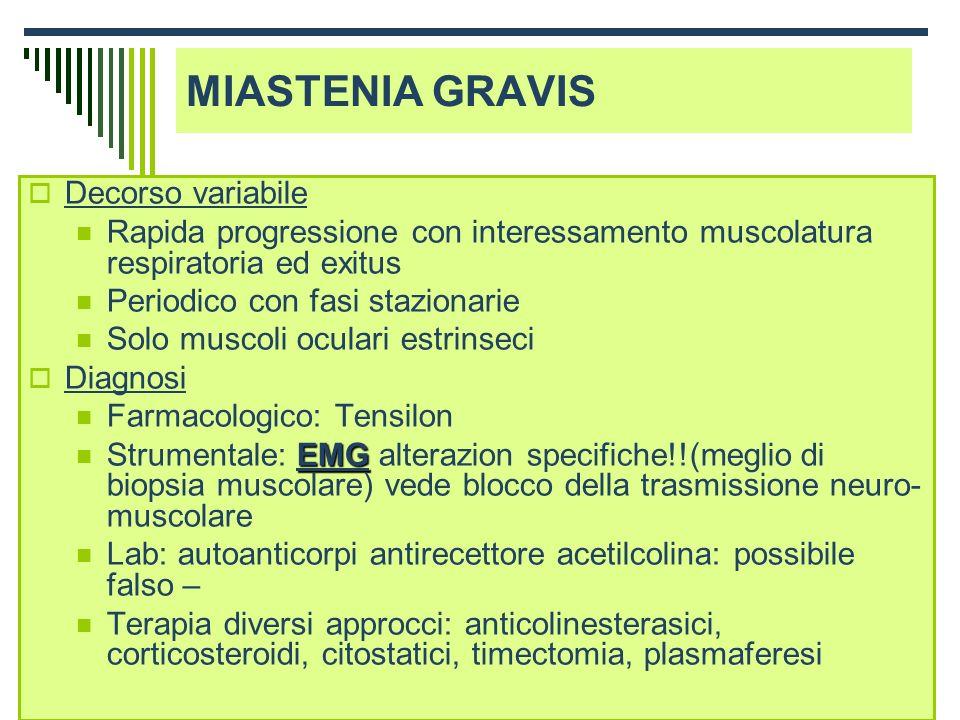 Dott.ssa Elisabetta Muccioli Decorso variabile Rapida progressione con interessamento muscolatura respiratoria ed exitus Periodico con fasi stazionari