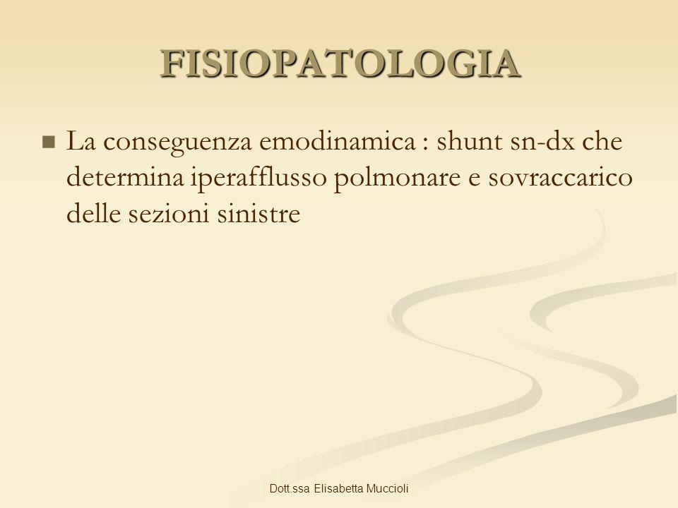 Dott.ssa Elisabetta Muccioli FISIOPATOLOGIA La conseguenza emodinamica : shunt sn-dx che determina iperafflusso polmonare e sovraccarico delle sezioni