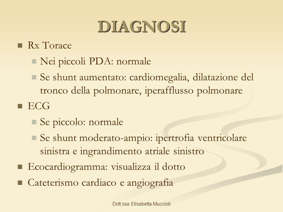 Dott.ssa Elisabetta Muccioli DIAGNOSI Rx Torace Nei piccoli PDA: normale Se shunt aumentato: cardiomegalia, dilatazione del tronco della polmonare, ip