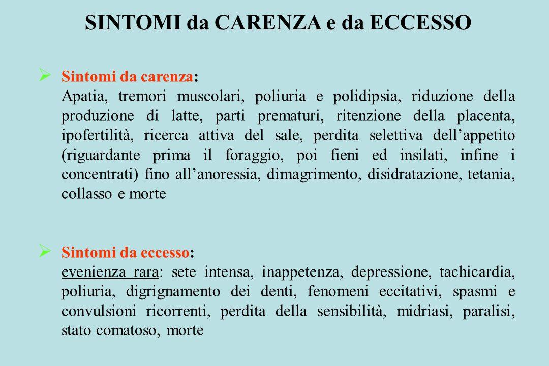 SINTOMI da CARENZA e da ECCESSO Sintomi da carenza: Apatia, tremori muscolari, poliuria e polidipsia, riduzione della produzione di latte, parti prema