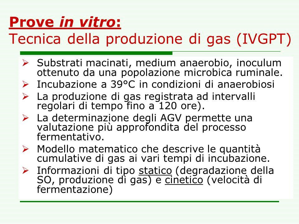 Prove in vitro: Tecnica della produzione di gas (IVGPT) Substrati macinati, medium anaerobio, inoculum ottenuto da una popolazione microbica ruminale.