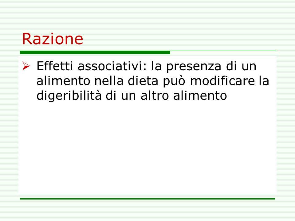 Razione Effetti associativi: la presenza di un alimento nella dieta può modificare la digeribilità di un altro alimento