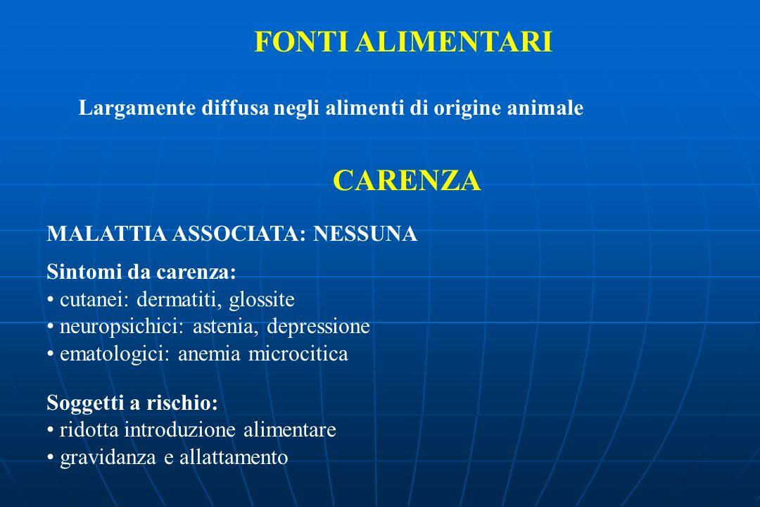 FONTI ALIMENTARI Largamente diffusa negli alimenti di origine animale CARENZA MALATTIA ASSOCIATA: NESSUNA Sintomi da carenza: cutanei: dermatiti, glos