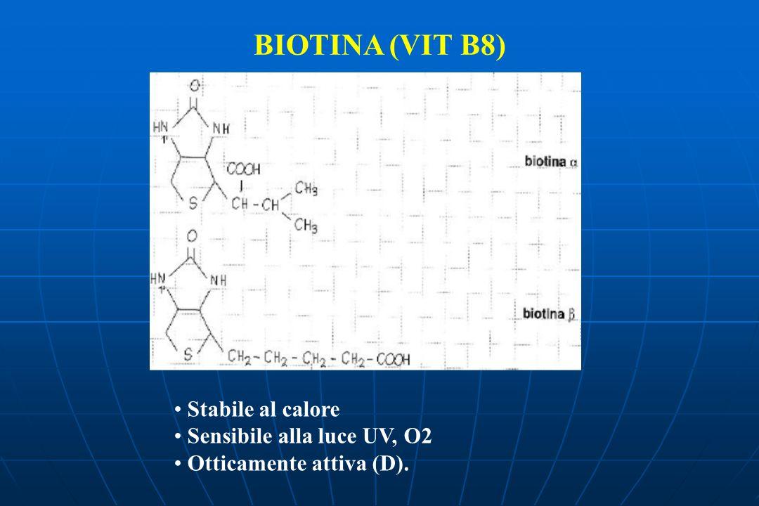 BIOTINA (VIT B8) Stabile al calore Sensibile alla luce UV, O2 Otticamente attiva (D).