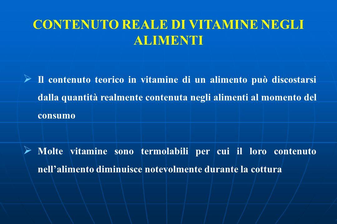 CONTENUTO REALE DI VITAMINE NEGLI ALIMENTI Il contenuto teorico in vitamine di un alimento può discostarsi dalla quantità realmente contenuta negli alimenti al momento del consumo Molte vitamine sono termolabili per cui il loro contenuto nellalimento diminuisce notevolmente durante la cottura