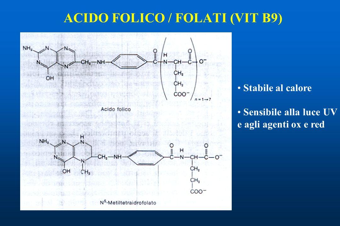 ACIDO FOLICO / FOLATI (VIT B9) Stabile al calore Sensibile alla luce UV e agli agenti ox e red