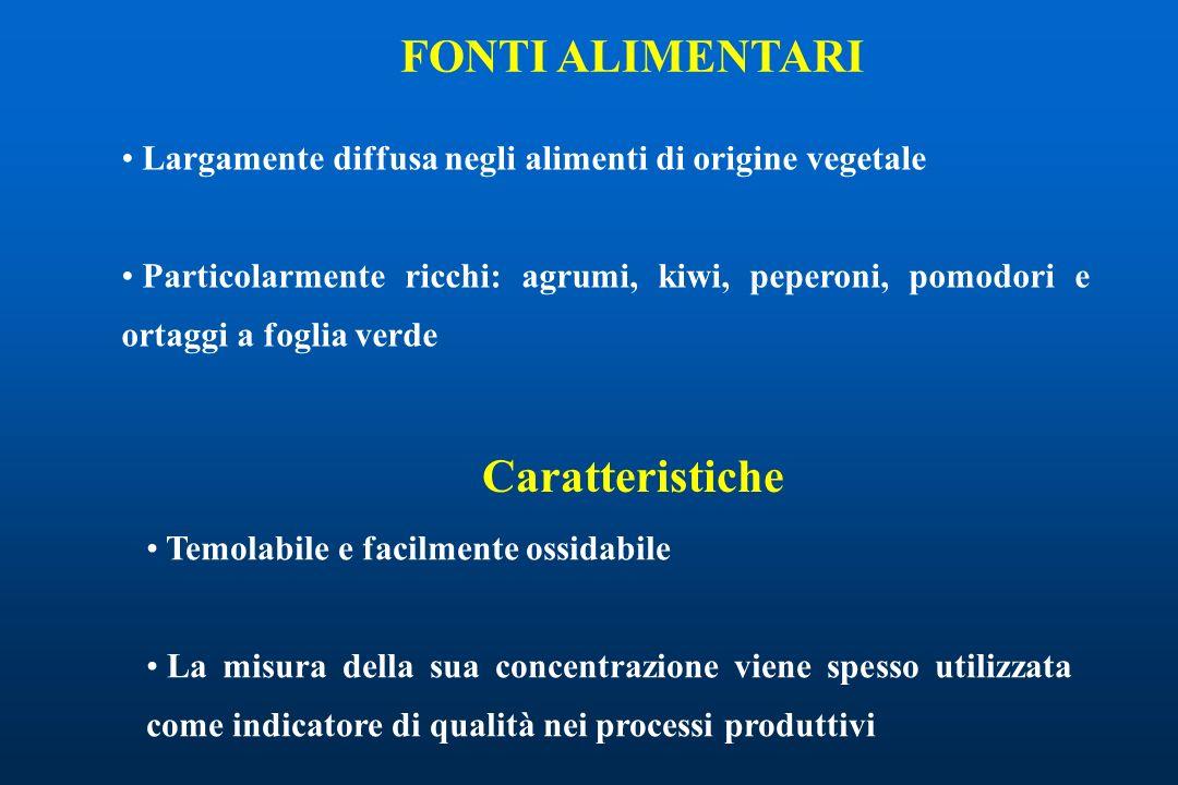 FONTI ALIMENTARI Largamente diffusa negli alimenti di origine vegetale Particolarmente ricchi: agrumi, kiwi, peperoni, pomodori e ortaggi a foglia ver