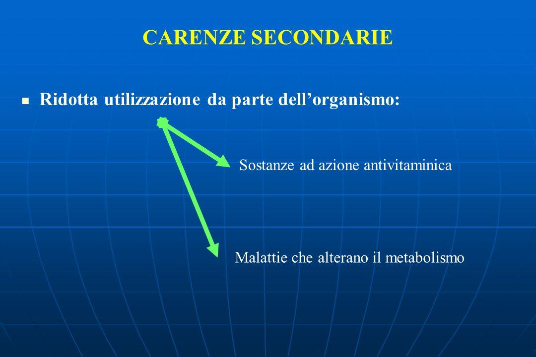 CARENZE SECONDARIE Ridotta utilizzazione da parte dellorganismo: Sostanze ad azione antivitaminica Malattie che alterano il metabolismo