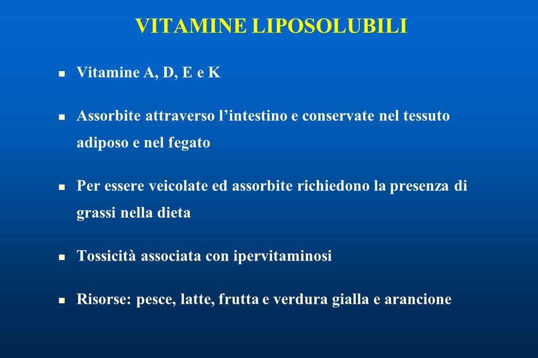 VITAMINE LIPOSOLUBILI Vitamine A, D, E e K Assorbite attraverso lintestino e conservate nel tessuto adiposo e nel fegato Per essere veicolate ed assorbite richiedono la presenza di grassi nella dieta Tossicità associata con ipervitaminosi Risorse: pesce, latte, frutta e verdura gialla e arancione