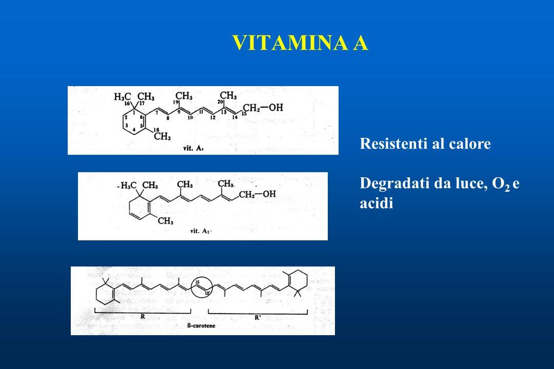 VITAMINA A Resistenti al calore Degradati da luce, O 2 e acidi