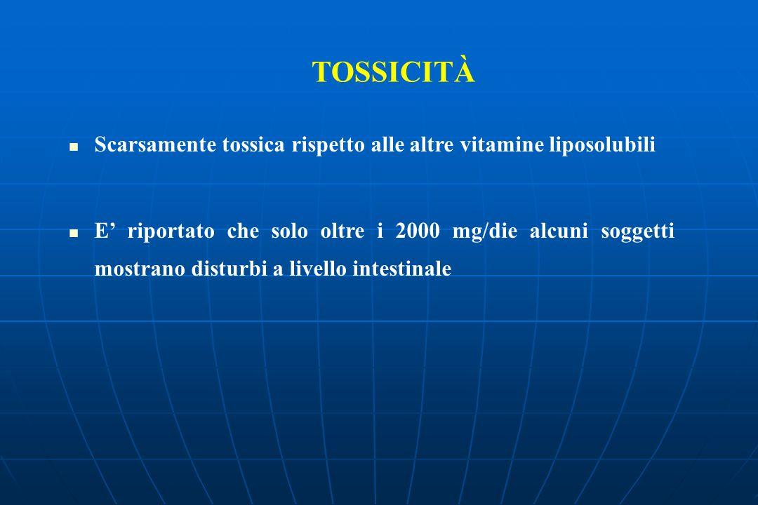 Scarsamente tossica rispetto alle altre vitamine liposolubili E riportato che solo oltre i 2000 mg/die alcuni soggetti mostrano disturbi a livello intestinale TOSSICITÀ