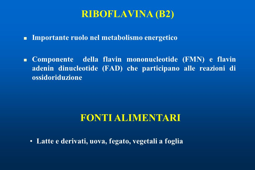 Importante ruolo nel metabolismo energetico Componente della flavin mononucleotide (FMN) e flavin adenin dinucleotide (FAD) che participano alle reazioni di ossidoriduzione RIBOFLAVINA (B2) Latte e derivati, uova, fegato, vegetali a foglia FONTI ALIMENTARI