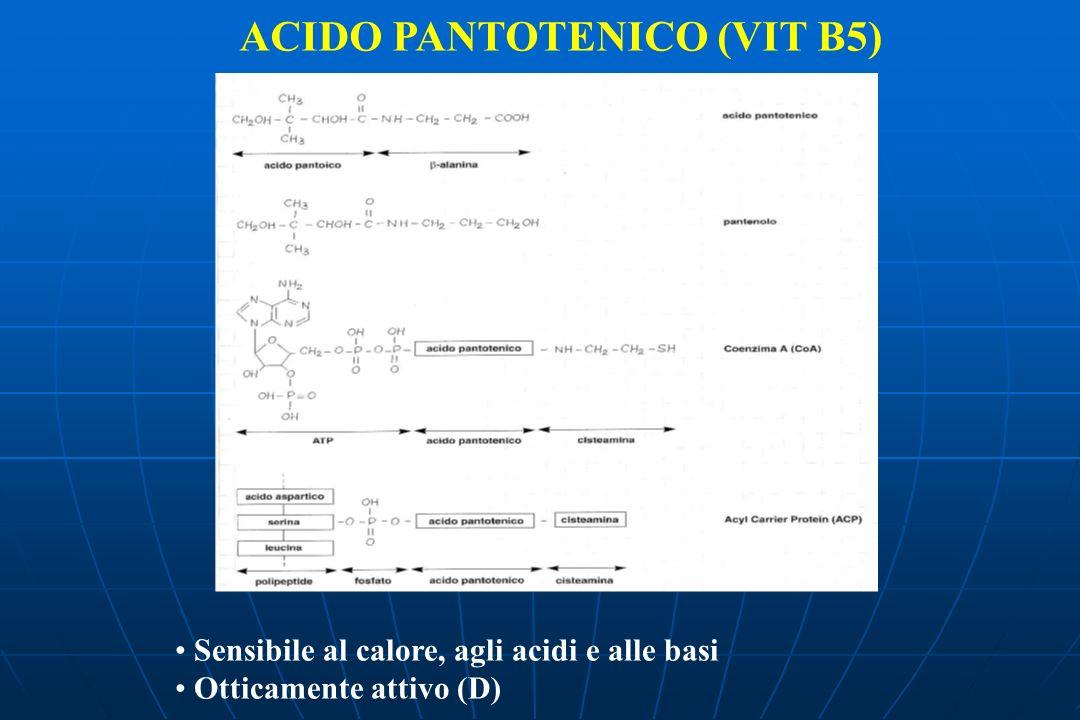 ACIDO PANTOTENICO (VIT B5) Sensibile al calore, agli acidi e alle basi Otticamente attivo (D)