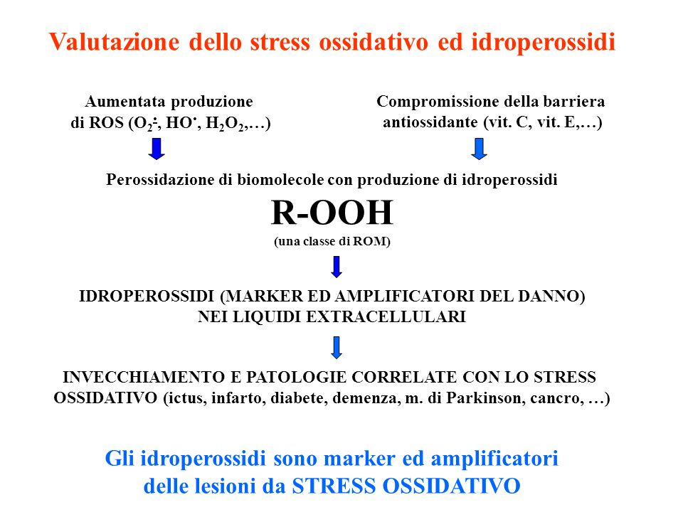 Valutazione dello stress ossidativo ed idroperossidi Gli idroperossidi sono marker ed amplificatori delle lesioni da STRESS OSSIDATIVO Aumentata produ