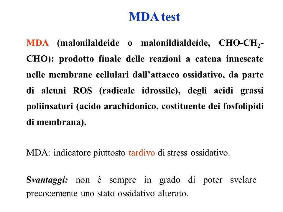 MDA (malonilaldeide o malonildialdeide, CHO-CH 2 - CHO): prodotto finale delle reazioni a catena innescate nelle membrane cellulari dallattacco ossida
