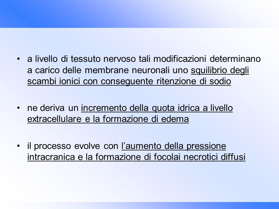 a livello di tessuto nervoso tali modificazioni determinano a carico delle membrane neuronali uno squilibrio degli scambi ionici con conseguente riten