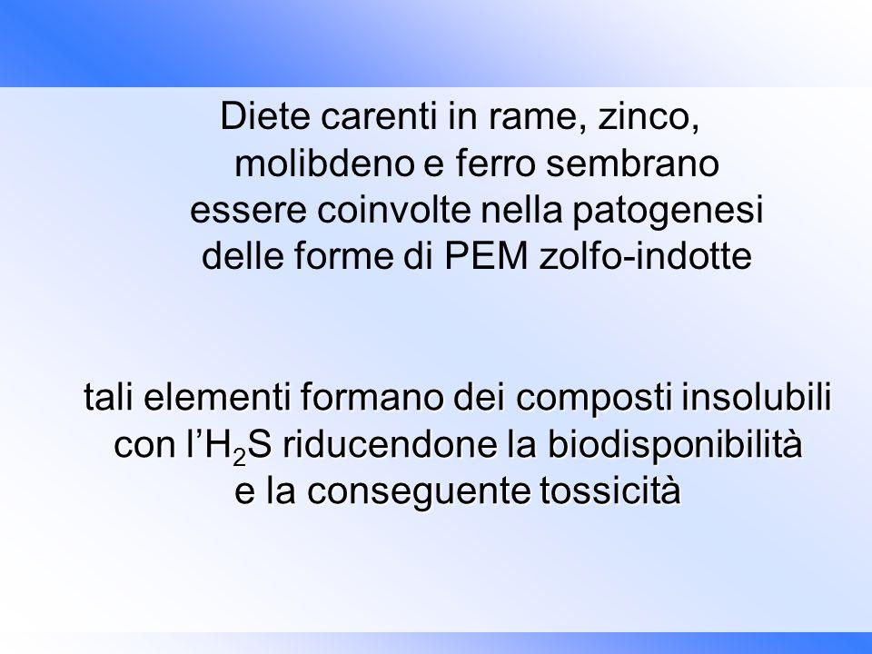 Diete carenti in rame, zinco, molibdeno e ferro sembrano essere coinvolte nella patogenesi delle forme di PEM zolfo-indotte tali elementi formano dei