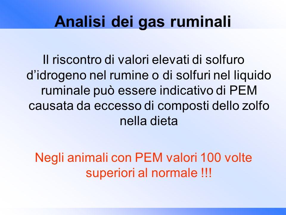Analisi dei gas ruminali Il riscontro di valori elevati di solfuro didrogeno nel rumine o di solfuri nel liquido ruminale può essere indicativo di PEM
