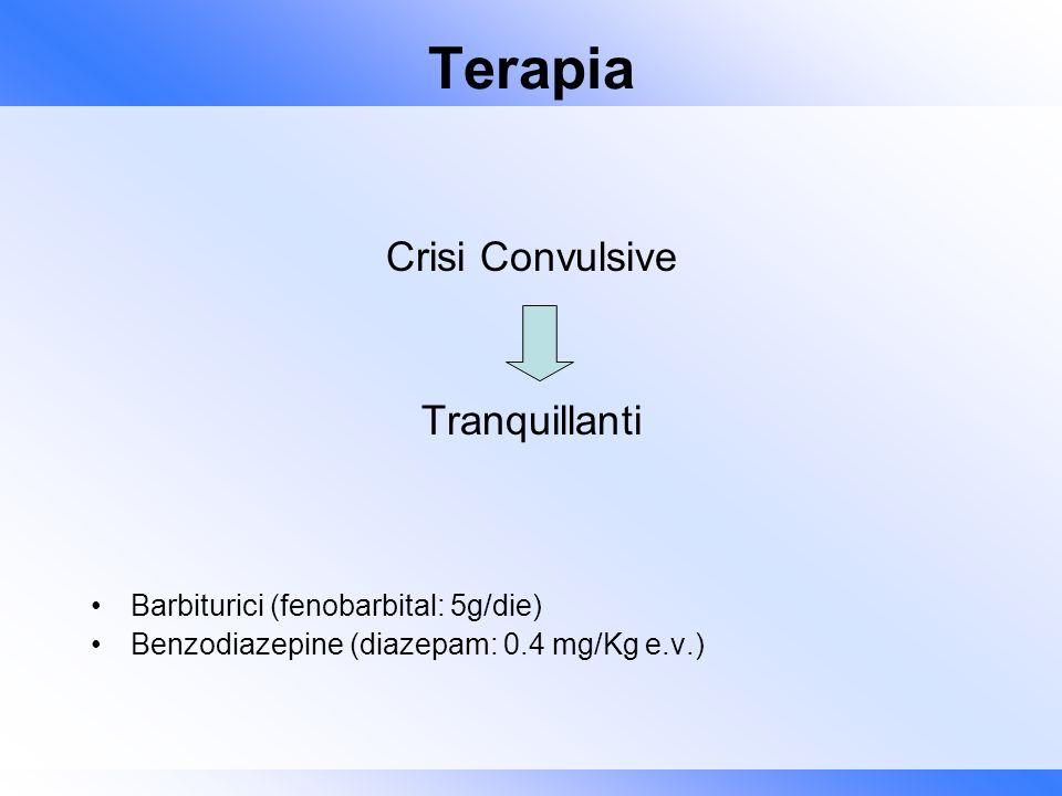 Terapia Crisi Convulsive Tranquillanti Barbiturici (fenobarbital: 5g/die) Benzodiazepine (diazepam: 0.4 mg/Kg e.v.)