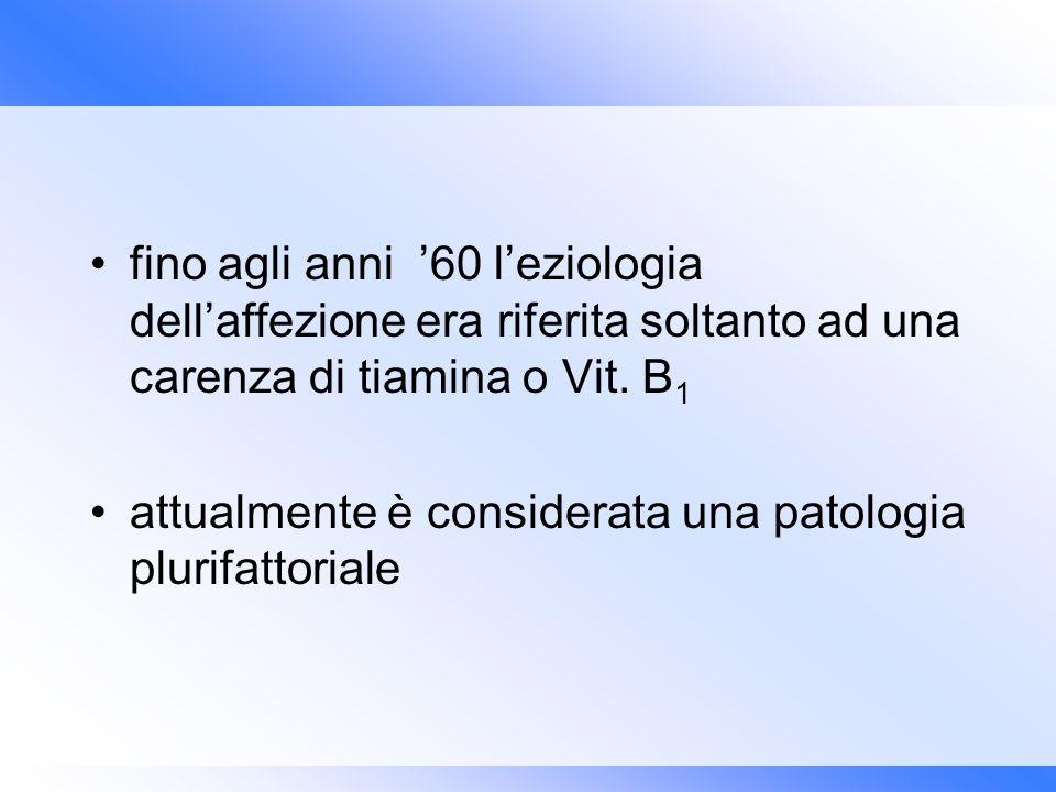 fino agli anni 60 leziologia dellaffezione era riferita soltanto ad una carenza di tiamina o Vit. B 1 attualmente è considerata una patologia plurifat