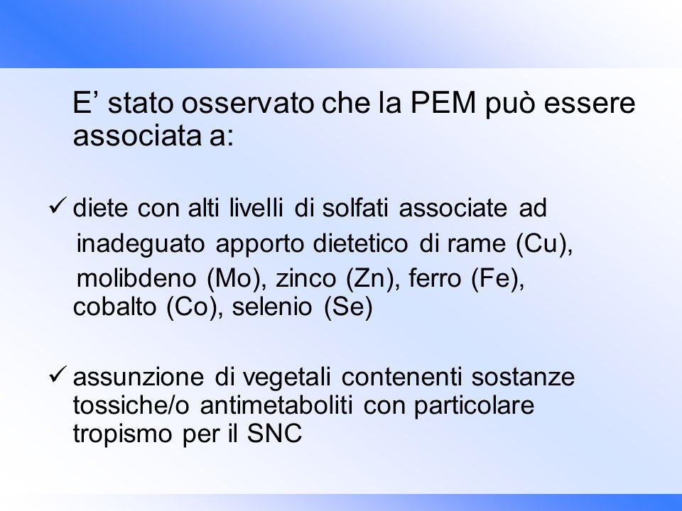 E stato osservato che la PEM può essere associata a: diete con alti livelli di solfati associate ad inadeguato apporto dietetico di rame (Cu), molibde