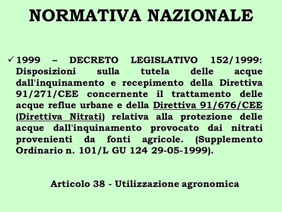 NORMATIVA NAZIONALE 1999 – DECRETO LEGISLATIVO 152/1999: Disposizioni sulla tutela delle acque dall'inquinamento e recepimento della Direttiva 91/271/