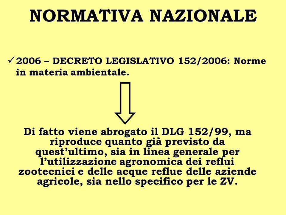 NORMATIVA NAZIONALE 2006 – DECRETO LEGISLATIVO 152/2006: Norme in materia ambientale. 2006 – DECRETO LEGISLATIVO 152/2006: Norme in materia ambientale