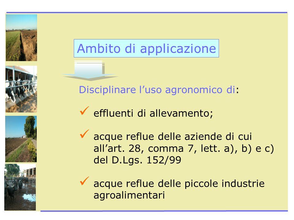 Ambito di applicazione Disciplinare luso agronomico di: effluenti di allevamento; acque reflue delle aziende di cui allart. 28, comma 7, lett. a), b)