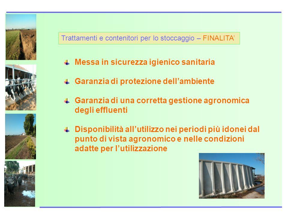 Trattamenti e contenitori per lo stoccaggio – FINALITA Messa in sicurezza igienico sanitaria Garanzia di protezione dellambiente Garanzia di una corre