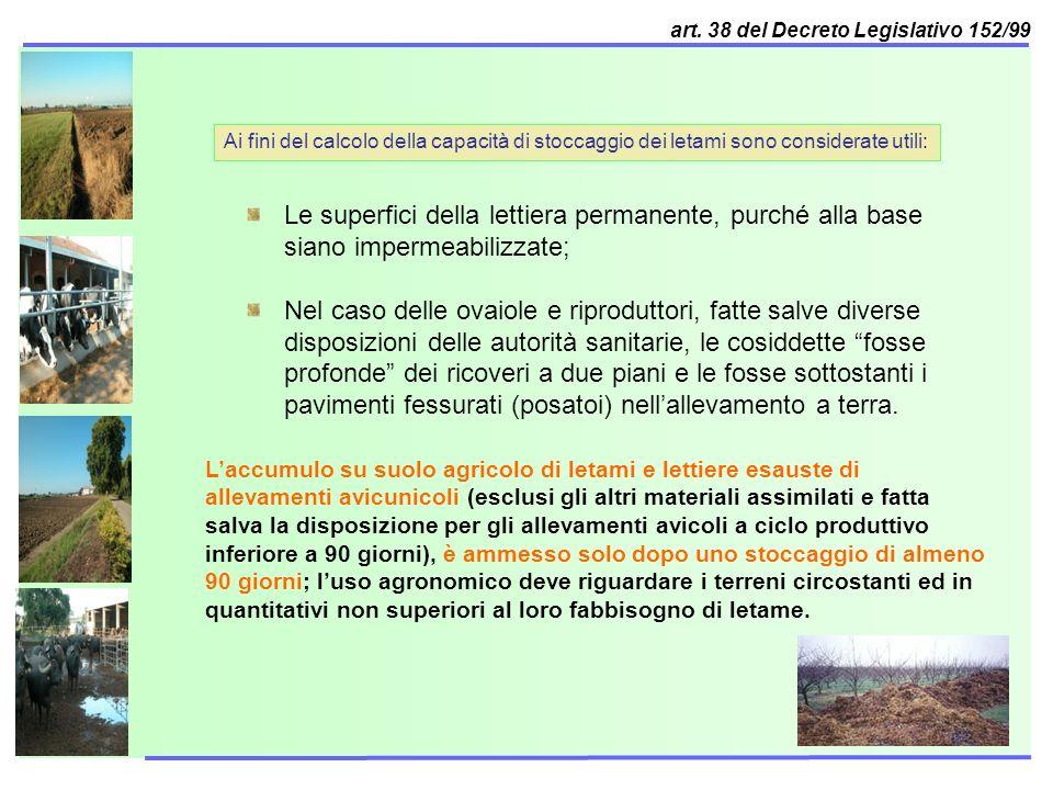 art. 38 del Decreto Legislativo 152/99 Ai fini del calcolo della capacità di stoccaggio dei letami sono considerate utili: Le superfici della lettiera