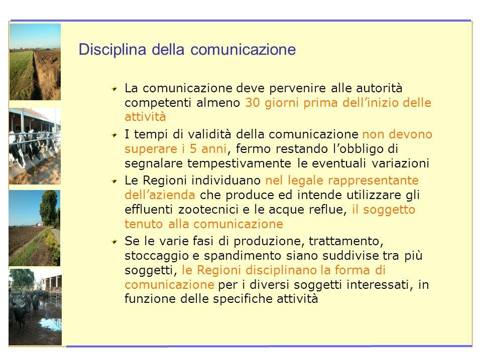 Disciplina della comunicazione La comunicazione deve pervenire alle autorità competenti almeno 30 giorni prima dellinizio delle attività I tempi di va