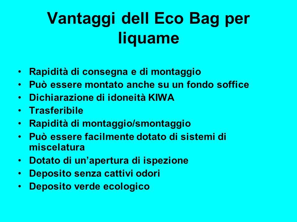 Vantaggi dell Eco Bag per liquame Rapidità di consegna e di montaggio Può essere montato anche su un fondo soffice Dichiarazione di idoneità KIWA Tras