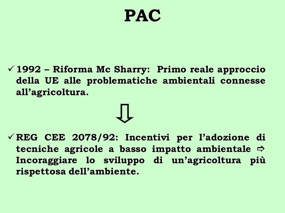 PAC 1992 – Riforma Mc Sharry: Primo reale approccio della UE alle problematiche ambientali connesse allagricoltura. 1992 – Riforma Mc Sharry: Primo re