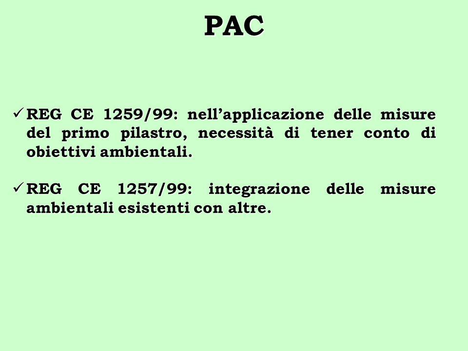 PAC REG CE 1259/99: nellapplicazione delle misure del primo pilastro, necessità di tener conto di obiettivi ambientali. REG CE 1259/99: nellapplicazio