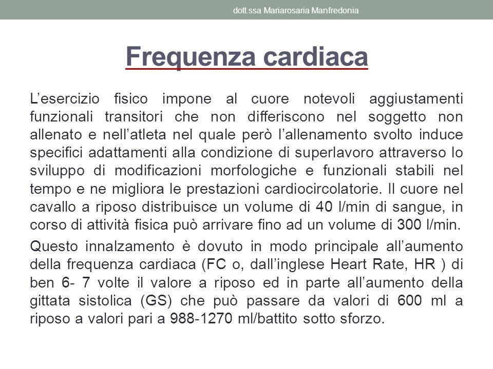 Frequenza cardiaca Lesercizio fisico impone al cuore notevoli aggiustamenti funzionali transitori che non differiscono nel soggetto non allenato e nel