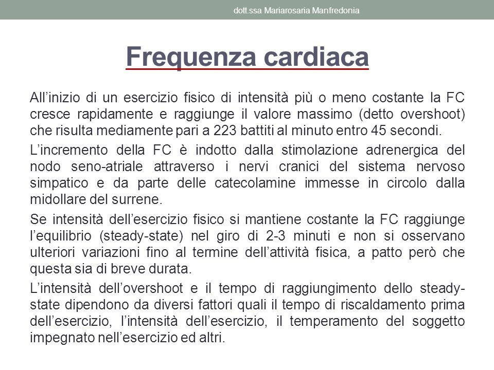 Frequenza cardiaca Allinizio di un esercizio fisico di intensità più o meno costante la FC cresce rapidamente e raggiunge il valore massimo (detto ove