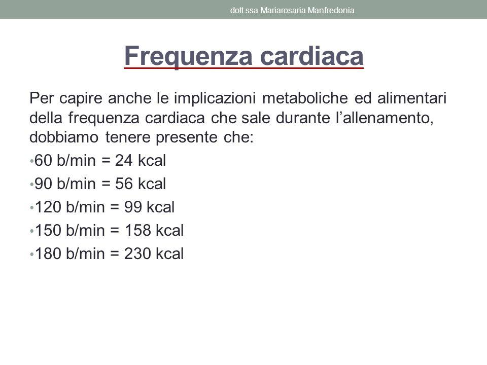 Frequenza cardiaca Per capire anche le implicazioni metaboliche ed alimentari della frequenza cardiaca che sale durante lallenamento, dobbiamo tenere