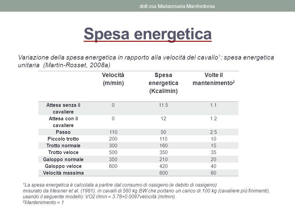 Spesa energetica Variazione della spesa energetica in rapporto alla velocità del cavallo 1 : spesa energetica unitaria (Martin-Rosset, 2008a) Velocità