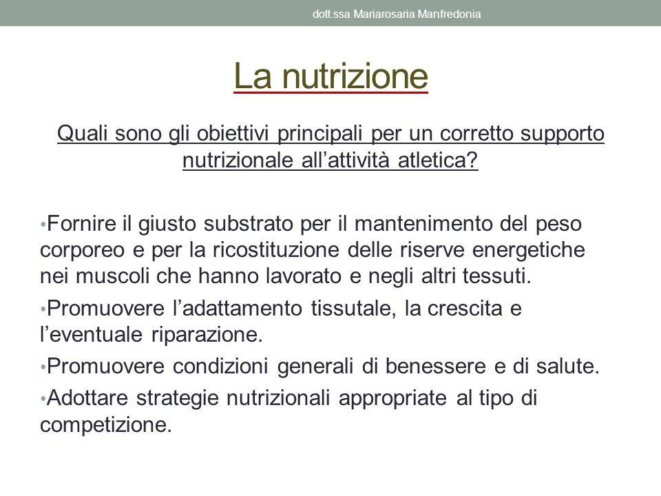 La nutrizione Quali sono gli obiettivi principali per un corretto supporto nutrizionale allattività atletica? Fornire il giusto substrato per il mante