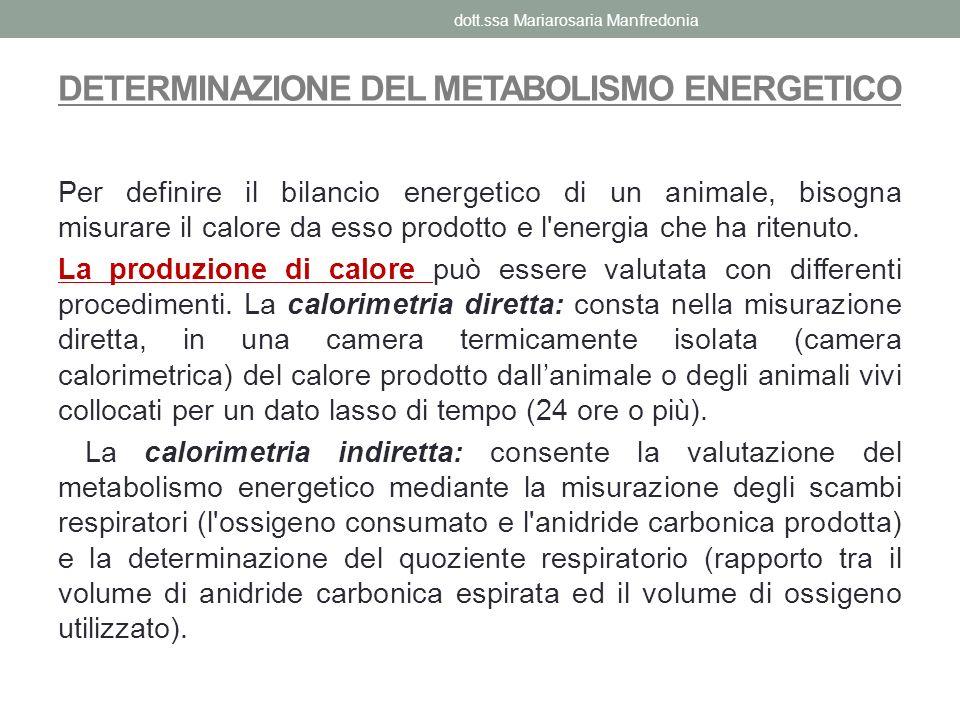 DETERMINAZIONE DEL METABOLISMO ENERGETICO Per definire il bilancio energetico di un animale, bisogna misurare il calore da esso prodotto e l'energia c