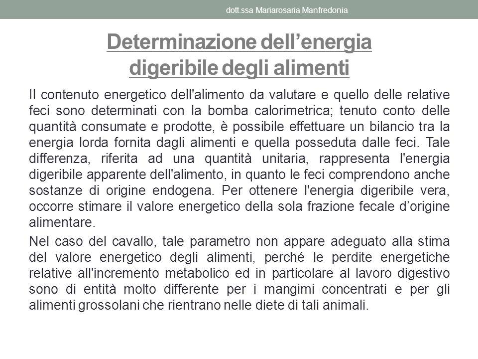 Il contenuto energetico dell'alimento da valutare e quello delle relative feci sono determinati con la bomba calorimetrica; tenuto conto delle quantit