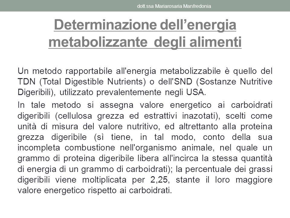 Determinazione dellenergia metabolizzante degli alimenti Un metodo rapportabile all'energia metabolizzabile è quello del TDN (Total Digestible Nutrien