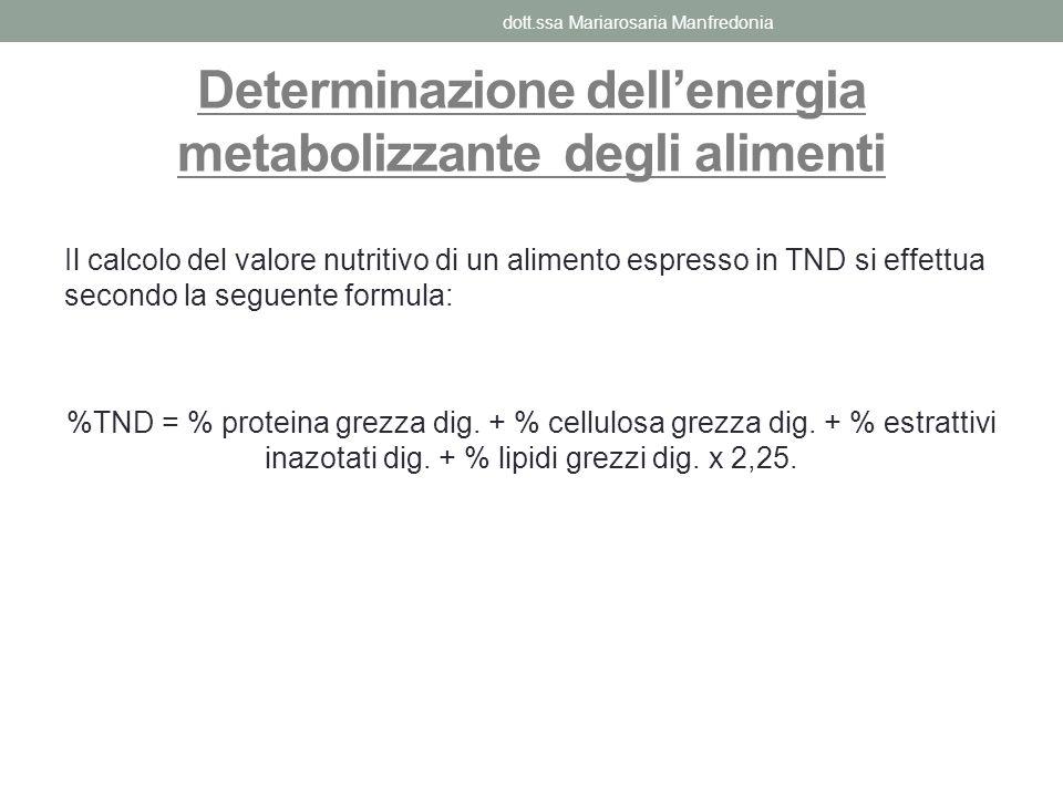 Determinazione dellenergia metabolizzante degli alimenti Il calcolo del valore nutritivo di un alimento espresso in TND si effettua secondo la seguent